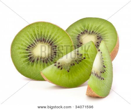 Kiwi fruit sliced segments isolated on white background cutout