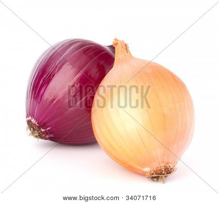 Red and gold onion bulbs isolated on white background