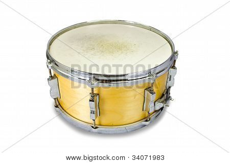 Plywood Snare Drum Isolated On White Background