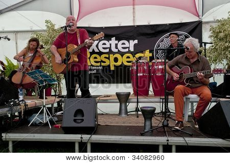 Exeter based band Mudskippers performing live in the Acoustic Cafe at the Exeter Respect Festival