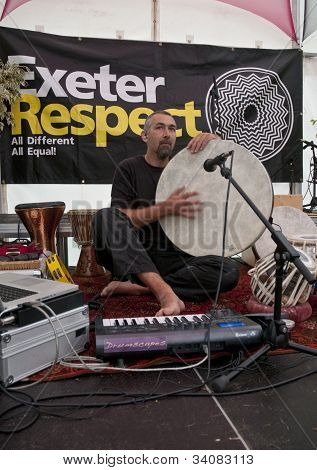 Stroud based percussionist and tabla player, Jon Sterckx, performing live in the Acoustic Cafe at th