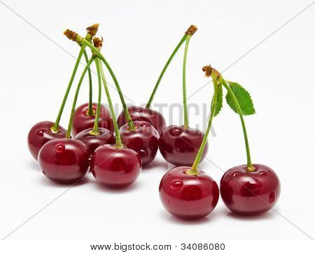 Wet Cherry Isolated On A White