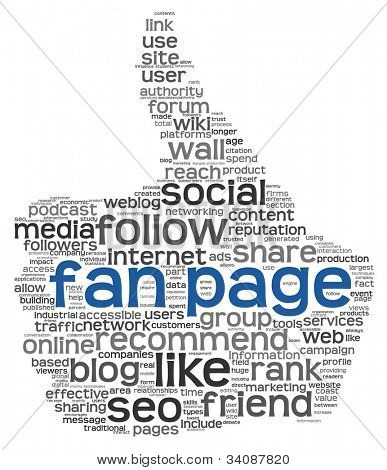 Fan page concept in tag cloud of thumb up shape isolated on white background