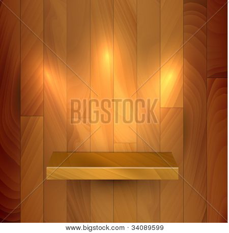 Vector wooden empty realistic bookshelf with lights illustration