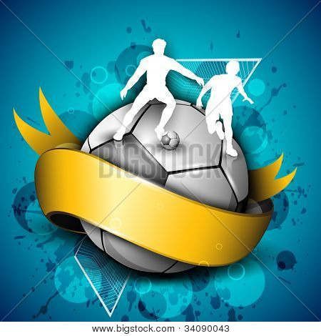 Soccer football icon or element with a yellow ribbon, silhouette of players playing with ball and goal post on grungy blue background. EPS 10.