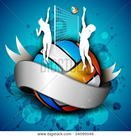 Colorful volleyball with shiny silver ribbon with girl players, net and ball on grungy blue background. EPS 10.