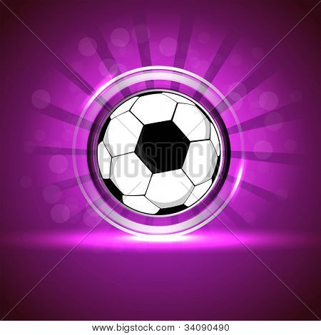Glossy soccer design or glossy football design on purple rays background. EPS 10.