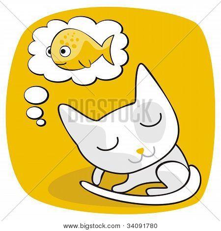Lindo gato soñando