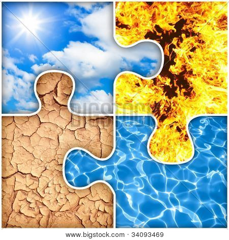 Four basic elements of nature puzzle : air, fire, earth, water