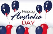 Australia National Day. Australian Balloons With Stripes And National Colors. Happy Australia Day. J poster