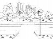 Crossroad Street Road Graphic Black White City Landscape Sketch Illustration Vector poster