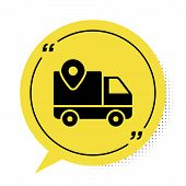 Black Delivery Tracking Icon Isolated On White Background. Parcel Tracking. Yellow Speech Bubble Sym poster