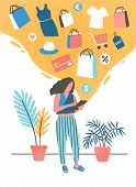 Girl Shopping Online Flat Vector Illustration. Young Woman Buying, Ordering Clothes In Internet Stor poster