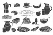Breakfast Icons Glyph Isolated Icons Set. Jug Of Milk, Coffee Pot, Cup, Juice, Sandwich And Fried Eg poster
