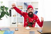 Hurray For The Holidays. Happy Hipster Celebrate Holidays In Office. Bearded Man Smile With Winter L poster