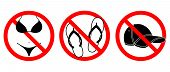 Bikini, Open Footwear And Caps Prohibited Icons Set.  No Bikini, Open Footwear And Caps Symbols Isol poster