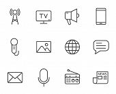 Mass Media Outline Vector Icons Set Isolated On White Background. Media Line Icons For Web And Ui De poster