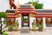 Wat Pho Temple In Bangkok City, Thailand. Famous Spiritual Buddhism Building With Colorful Roof. Bea poster