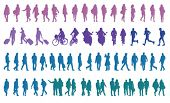 stock photo of pedestrians  - pedestrians vector silhouettes - JPG