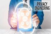 Writing Note Showing Privacy Engineering. Business Photo Showcasing Engineered Systems Provide Accep poster
