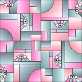 Modular Pattern With Eyes In Geometric Shapes Grid Scandinavian Fashion Retro Textile Print. Patches poster