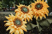 Large Giant Bendable Paper Flowers. Big Yellow Suflowers Made From Paper. Diy Big Paper Flower Made  poster
