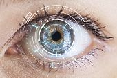 Eye Viewing Digital Information. Eyes Of Technologies In The Futuristic poster