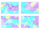 Fantasy Abstract Invitation Card. Fairy Background. Vector Design Concept. Holographic Magic Stars.  poster