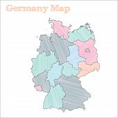 Germany Hand-drawn Map. Colourful Sketchy Country Outline. Vector Illustration. poster