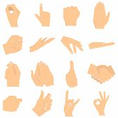 Gesturing Hands. Signs And Hand Gestures. Shaking Hands, Clapping, Thumb Up, Index Finger, Rock And  poster