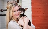 picture of boise  - Woman with Chihuahua in urban Boise area Freak Alley. ** Note: Slight blurriness, best at smaller sizes - JPG