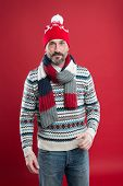 Cold Weather Concept. Bearded Man In Winter Style. Caucasian Man Wear Warm Clothes. Knitwear Accesso poster