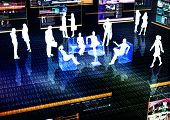 image of ebusiness  - Ebusiness concept illustrated with people doing activity in futuristic virtual world - JPG