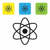 Black Atom Icon Isolated On White Background. Symbol Of Science, Education, Nuclear Physics, Scienti poster