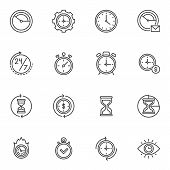 Clock Time Line Icons Set. Time Management Linear Style Symbols Collection, Outline Signs Pack. Vect poster