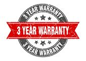 3 Year Warranty Round Stamp With Red Ribbon. 3 Year Warranty poster