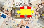 stock photo of spanish money  - European financial crisis concept - JPG