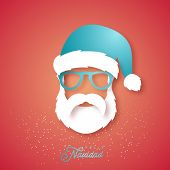 Paper Art Merry Christmas Greeting Card With Santa Claus In Glasses On Red Background. Hipster Style poster