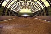 View In An Indoor Riding Hall For Horses And Riders. The Riding School Is Suitable For Dressage And  poster