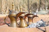 Arabic Traditional Coffee Pots, Uae Heritage Concept poster