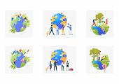 Eco Tourism Set. Volunteers Planting Trees Outdoors, Tourist With Luggage, Planet, Map. Flat Vector  poster