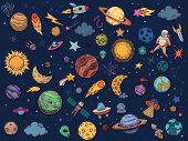 Color Space Doodle. Astrology Planets, Colorful Space And Hand Drawn Rocket Vector Illustration Set. poster