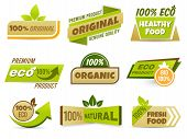 Eco Label Banner. Healthy Food Labels, Eco Bio Product And Natural Organic Emblem Badges Vector Set. poster