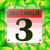 December 3 Icon. Calendar Date For Planning Important Day With Green Leaves. Third Of December. Bann poster