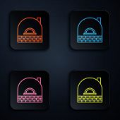 Color Neon Line Brick Stove Icon Isolated On Black Background. Brick Fireplace, Masonry Stove, Stone poster