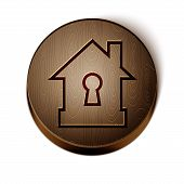Brown Line House Under Protection Icon Isolated On White Background. Protection, Safety, Security, P poster