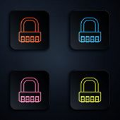 Color Neon Line Safe Combination Lock Icon On Black Background. Combination Padlock. Security, Safet poster