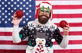 American Tradition. Santa Claus. Cheerful Mood. Christmas Tradition From Usa. Xmas And New Year. Tra poster