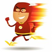 stock photo of lightning bolt  - Illustration of a cartoon happy super hero running faster than a lightning bolt with visual speed effect - JPG