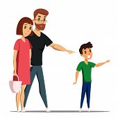 Family Flat Vector Characters. Mother, Father And Son Isolated Clipart On White Background. Smiling  poster